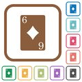 Six of diamonds card simple icons Royalty Free Stock Photo