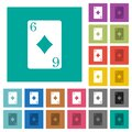 Six of diamonds card square flat multi colored icons Royalty Free Stock Photo