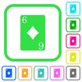 Six of diamonds card vivid colored flat icons Royalty Free Stock Photo