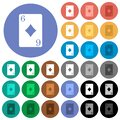 Six of diamonds round flat multi colored icons Royalty Free Stock Photo