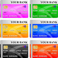 Six different color credit card vector Stock Photography