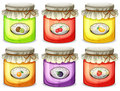 Six different jams illustration of the on a white background Royalty Free Stock Image