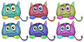 Six different monsters illustration of the on a white background Royalty Free Stock Photography