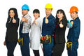 Six different people careers give thumbs Royalty Free Stock Photo