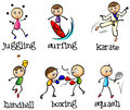 Six different sports illustration of the on a white background Royalty Free Stock Image