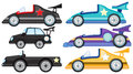 Six different styles of toy cars illustration the on a white background Stock Image