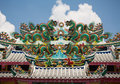 Six dragons on the roof dragon in temple thailand Royalty Free Stock Photo
