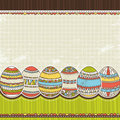 Six easter egg over color background, vector Royalty Free Stock Photo