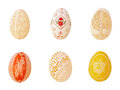 Six easter eggs engraved and painted Royalty Free Stock Image