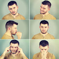 Six emotions of a man on green background Stock Photography