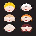 Six faces of cute women vector illustration Stock Photos