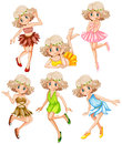 Six fairies in colorful dress Royalty Free Stock Photo
