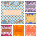 Six frames with flower patterns for text pink flowers against the polka dot background Royalty Free Stock Photo