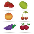 Six fruits different colored with shadows in white background Stock Images