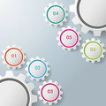 Six gears infographic design colorful on the grey background eps file Stock Image