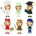 Six girls of different professions Royalty Free Stock Images