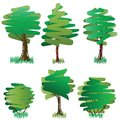 Six green deciduous trees Royalty Free Stock Photography