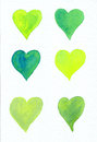 Six green hearts on white watercolor painting Royalty Free Stock Photo