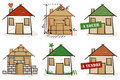 Six hand drawn houses Royalty Free Stock Images