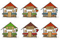 Six hand drawn houses Stock Photo