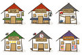 Six hand drawn houses Stock Photos