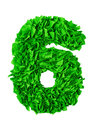 Six. Handmade number 6 from green scraps of paper Royalty Free Stock Photo