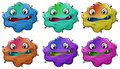 Six head of angry monsters illustration the on a white background Stock Photography