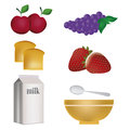 Six icons for breakfast of related stuff in white background Royalty Free Stock Photography
