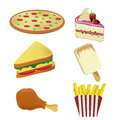 Six icons for food of fast representing a pizza ice cream cake sandwich french fries and a chicken Royalty Free Stock Image