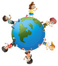 Six kids walking around the planet earth illustration of on a white background Royalty Free Stock Images