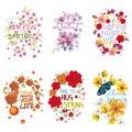 Six mnemonics on the concept of Spring season Royalty Free Stock Photo