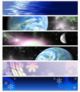 Six multi-coloured  banners 3 Royalty Free Stock Photo