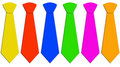 Six neckties in different colors Royalty Free Stock Photo