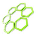 Six part composition made of hexagon segments isolated green glossy with chrome metal edging on white Stock Photo