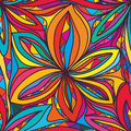 Six petal star flower seamless pattern