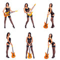 Six photos of a sexy woman with a guitar Royalty Free Stock Photo