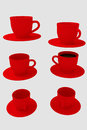 Six red coffee cups with saucer -  on white background Royalty Free Stock Photo