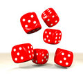 Six red dice throw Royalty Free Stock Photo