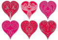 Six red heart,  Royalty Free Stock Photos