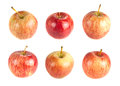 Six red ripe apples on a white background choose your apple Stock Photos