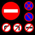 Six Round Prohibitory Red,white and blue Road Sign Stock Image