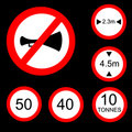Six Round Prohibitory Road Signs Set 2 Royalty Free Stock Photo