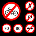 Six Round Prohibitory Road Signs Set 3 Stock Photo