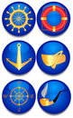 Six sea signs. Royalty Free Stock Photo