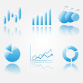 Shiny blue chart icons Royalty Free Stock Photo