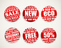 Six Shopping discount labels Royalty Free Stock Image