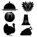 Six silhouettes for thanksgiving day related to stuff like food and tradition Royalty Free Stock Photography