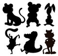 Six silhouettes of wild animals illustration the on a white background Stock Images