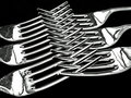 Six Silver Forks Royalty Free Stock Photography
