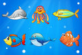 Six smiling sea creatures under the deep sea illustration of Royalty Free Stock Photos